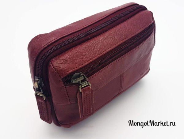 фото сумки бордового цвета на пояс, кожа