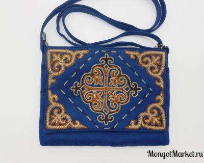 женская синяя замшевая сумка