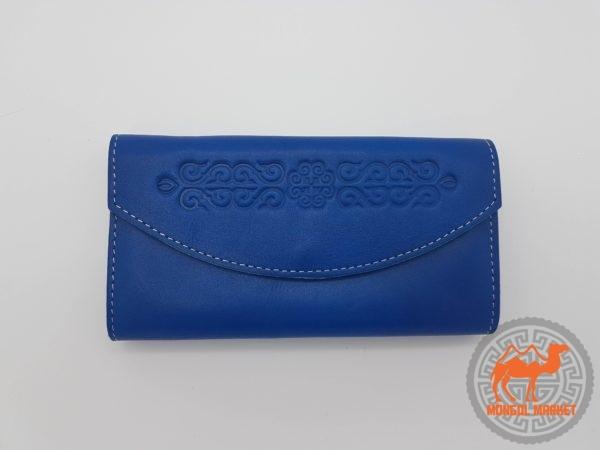 Женский синий кошелек из натуральной кожи