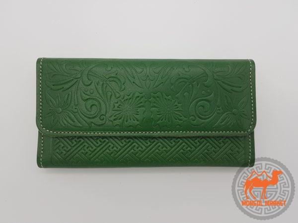 Кожаный кошелек зеленый