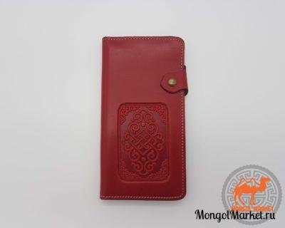 Красный кошелек из натуральной кожи