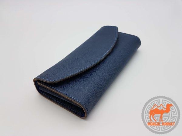 Кожаный кошелек синий