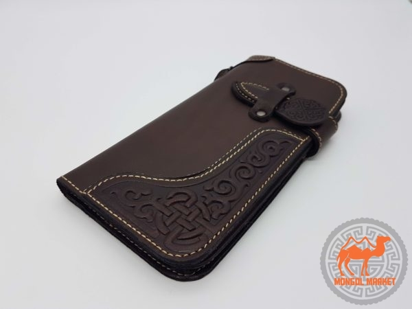 Кожаный кошелек на хлястики