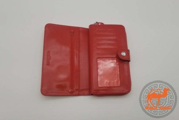 Красный женский кожаный кошелек фото
