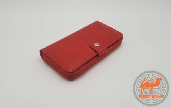 Кожаный красный кошелек из натуральной кожи фото