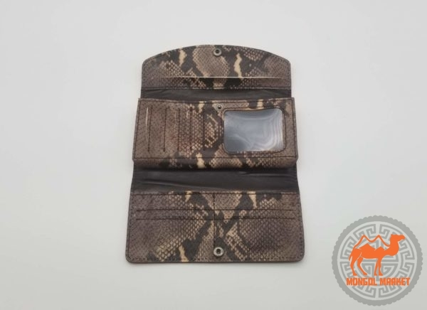 Монгольский кожаный кошелек из кожи фото