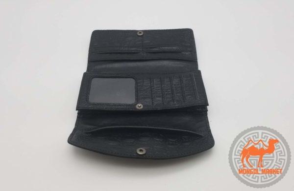 многофункциональный черный женский кожаный кошелек картинка