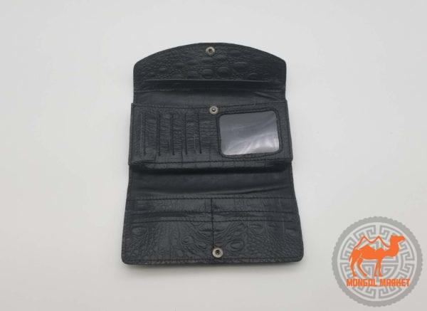 раскладной женский черный кожаный кошелек фото