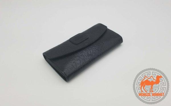 Черный женский кошелек из натуральной кожи картинка