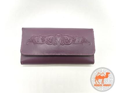 женский раскладной кошелек бордового цвета фото