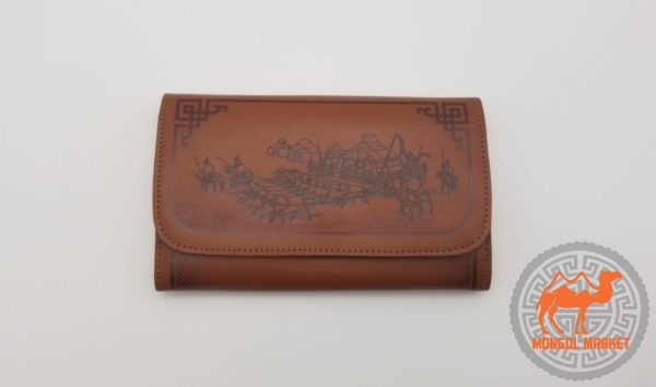 кожаный Монгольский кошелек