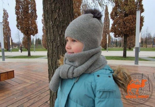 Детский комплект шарф и шапка из натуральной шерсти фото
