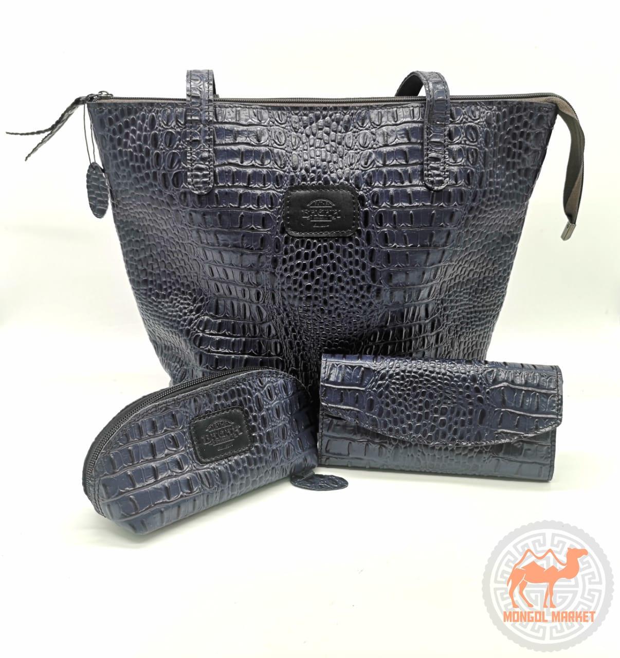 e958979f19ed Купить набор сумку, кометичку, кошелек из кожи | Интернет Магазин  Монголмаркет