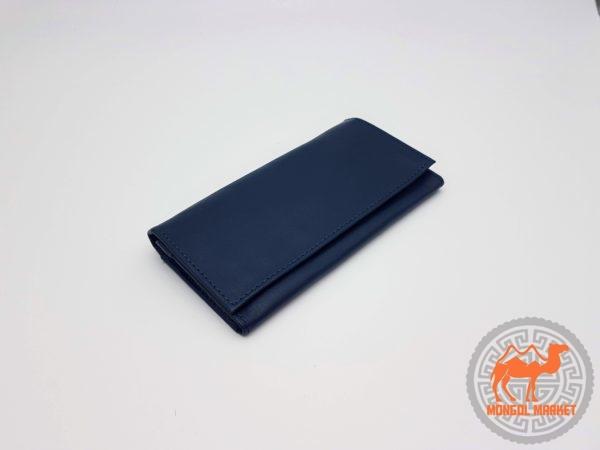 синий кошелек из натуральной кожи