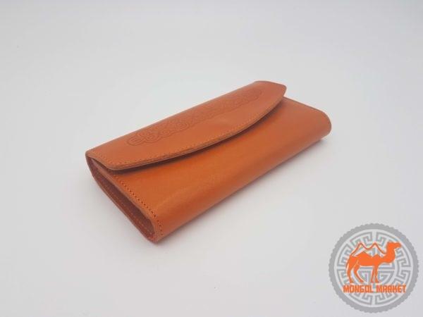 Кошелек натуральная кожа оранжевый
