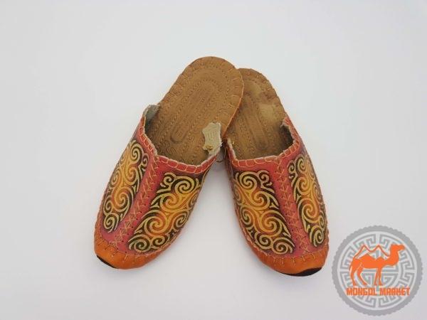 монгольские кожаные тапки фото