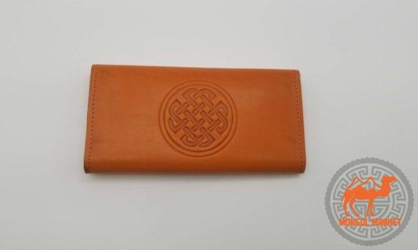 ораньжевый кожаный раскладной кошлек фото