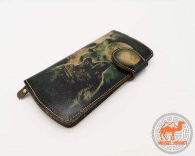 кожаный кошелек с волком фото