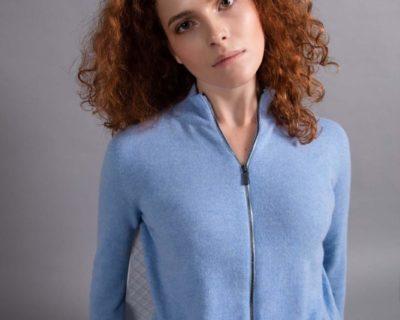 Кашемировый свитер на молнии женский