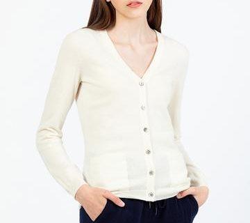 Женский кашемировый свитер на пуговицах белый фото