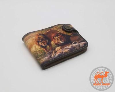 цветной кожаный кошелек с рисунком львы