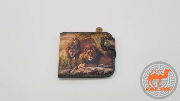 кожаный кошалек с рисунком львы