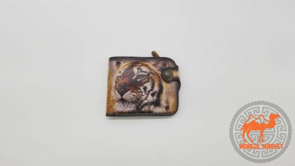 Кошелек кожаный рисунок тигр