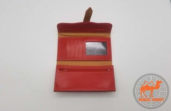 монгольский кожаный портмоне
