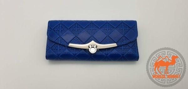 Синий кошелек из кожи Монголия фото