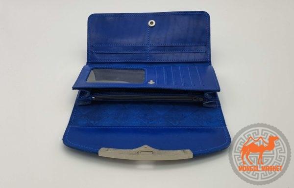 синий женский кошелек на защелке