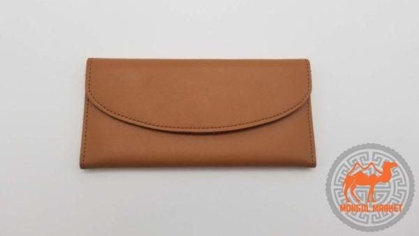 коричневый кожаный кошелек из Монголии