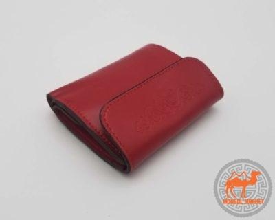 Кожаный небольшой красный кошелек