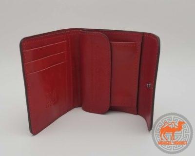 кожаный красный женский кошелек