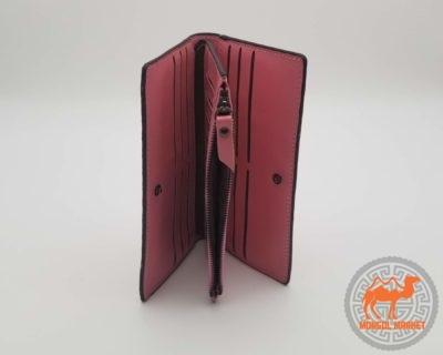 кожаный розовый женский кошелек