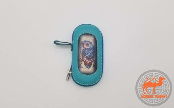 Кожаная голубая ключница