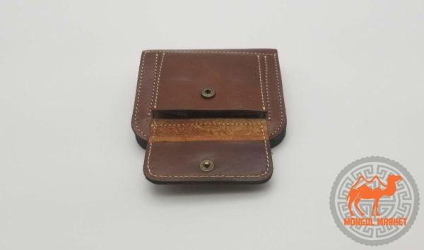 Кожаный кошелек коричневый фото