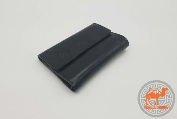 Черный кожаный кошелек фото