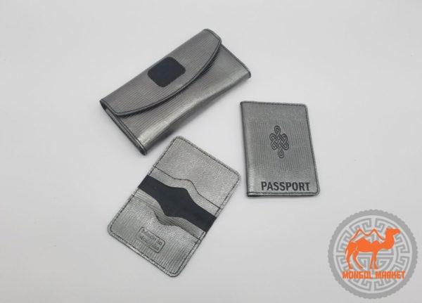 набор кошелек, обложка на паспорт, визитница, из натуральной кожи изображение