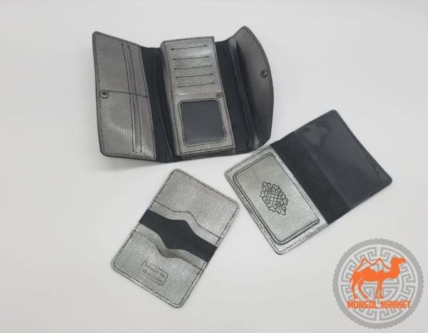 набор кошелек, обложка на паспорт, визитница, из натуральной кожи картинка