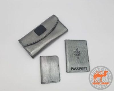 набор кошелек, обложка на паспорт, визитница, из натуральной кожи фото
